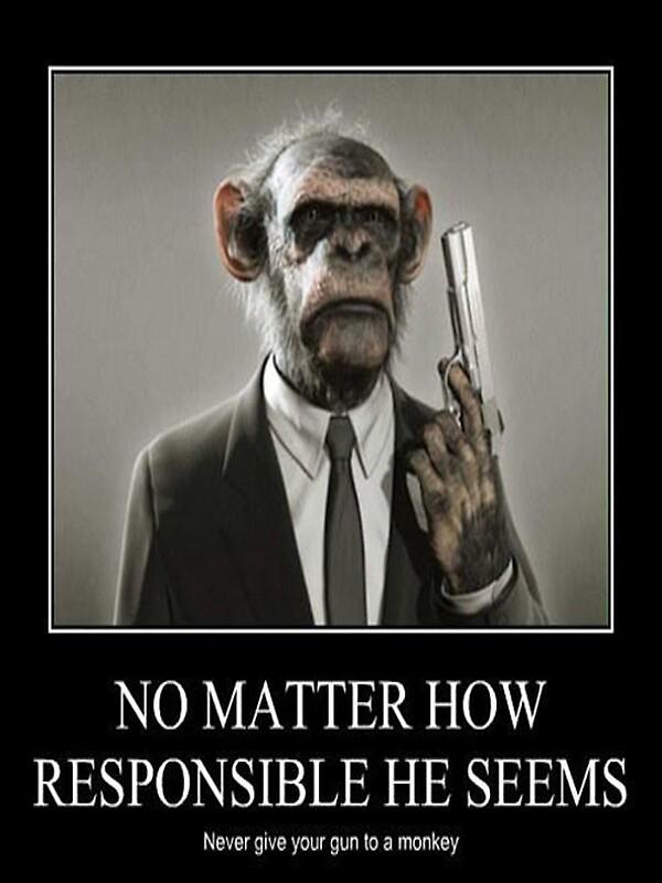 Resultado de imagen de monkey with a gun