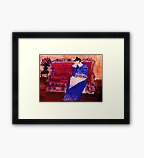 On her sofa, my version of a Pissarro, watercolor Framed Print