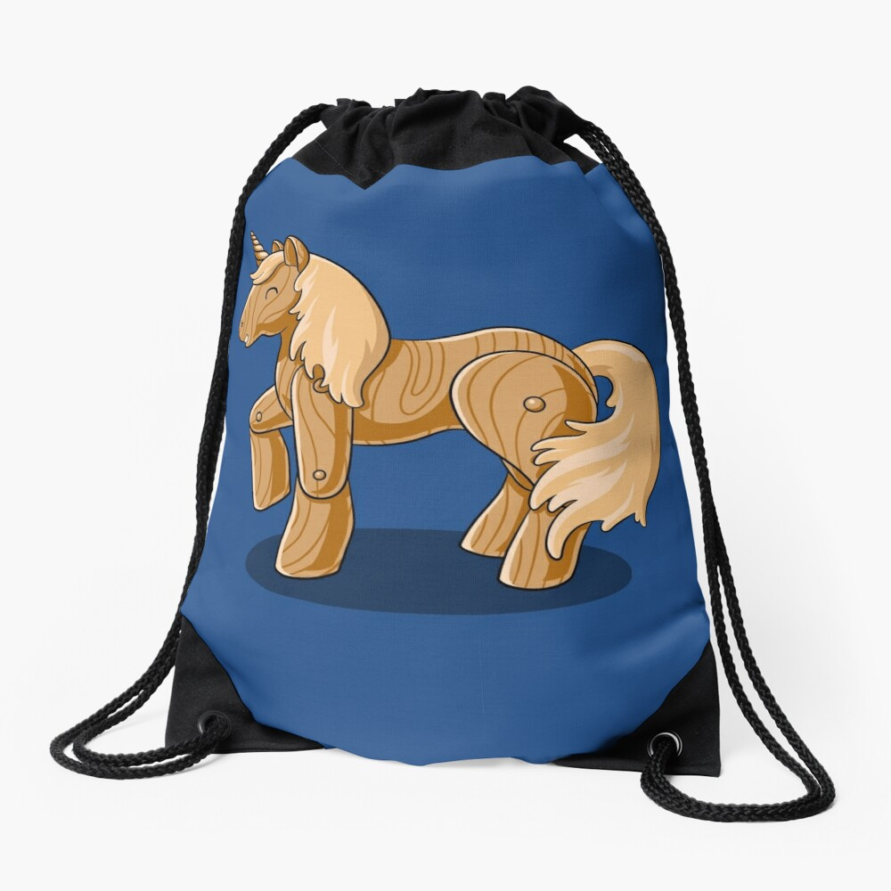 Unocchio the Wooden Unicorn Drawstring Bag