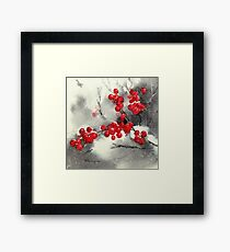 Red Berries,White Snow Framed Print