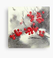 Red Berries,White Snow Metal Print