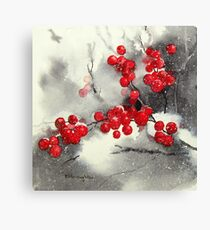 Red Berries,White Snow Canvas Print