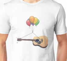 Guitar Getting Carried Away by Balloons Unisex T-Shirt