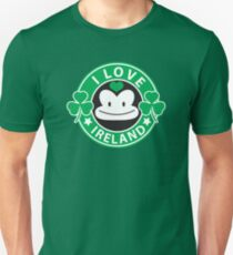 I LOVE IRELAND funny monkey with shamrocks T-Shirt