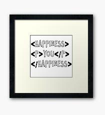 code happiness black Framed Print