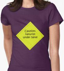 Caution : naturist Women's Fitted T-Shirt