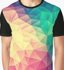 Abstract Polygon Multi Color Cubism Low Poly Triangle Design Graphic T-Shirt