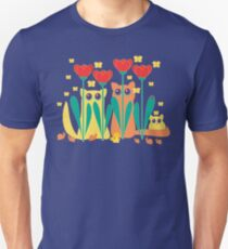 Rabble Of Butterflies In Tulip Garden T-Shirt