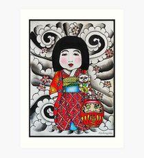 Ichimatsu ningyo, maneki neko and daruma doll  Art Print