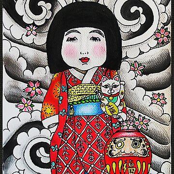 Ichimatsu ningyo, maneki neko and daruma doll  by alxbngala