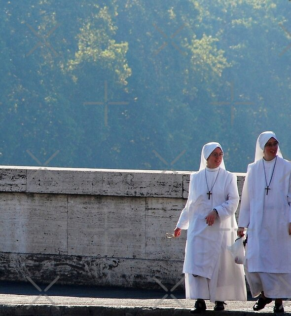 Two Smiling Nuns  crossing the Bridge by Alessandro Pinto