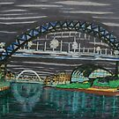 Tyne Quayside at night by George Hunter