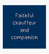 Faithful chauffeur and companion Photographic Print