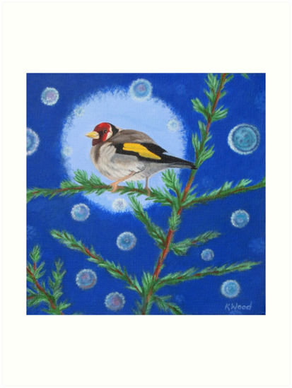 Goldfinch And Orbs by KarenWoodArt