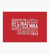 Swan Queen Nicknames (red) Photographic Print