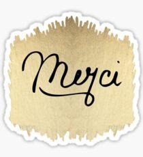 "Swanky & Elegant French ""Merci"" Quote on Black Sticker"