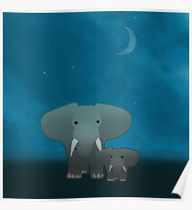 Elephant and a baby at night Poster