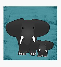 Elephant with a baby Photographic Print