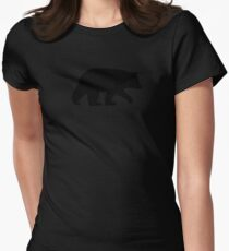 Black Bear Silhouette Womens Fitted T-Shirt