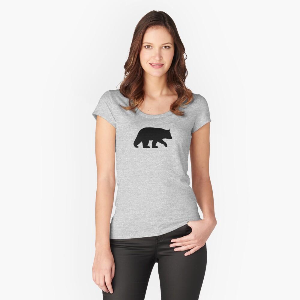 Schwarzbär Silhouette Tailliertes Rundhals-Shirt
