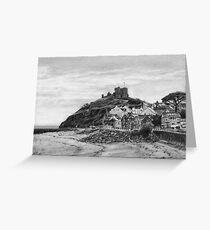 Criccieth Beach Wales UK Pencil Drawing Greeting Card