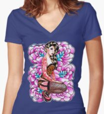 Tattooed Pin Up Girl with Roses Women's Fitted V-Neck T-Shirt