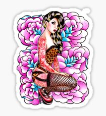 Tattooed Pin Up Girl with Roses Sticker