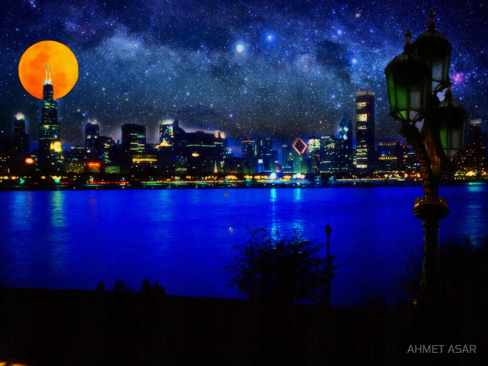 chicago at full moon by MotionAge Media