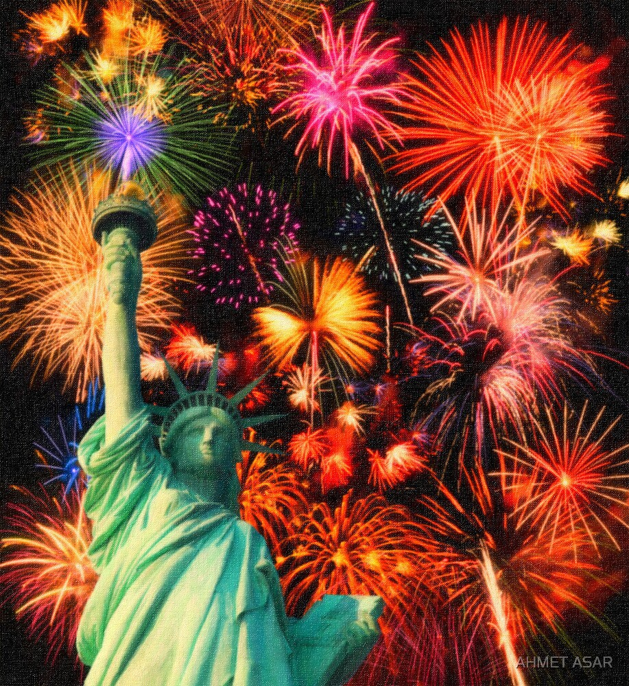 Fireworks by the Statue of Liberty by MotionAge Media