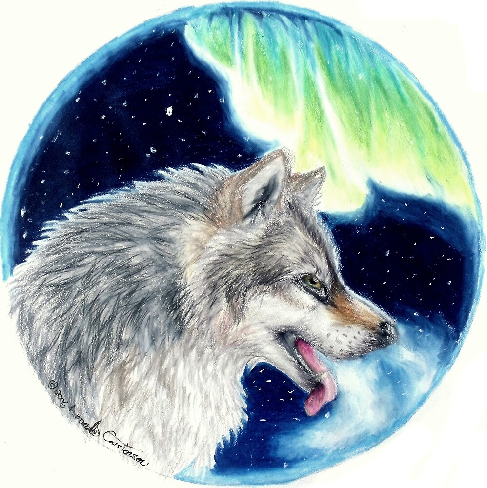 Lupus Borealis - Aurora Wolf Colored Pencil Drawing Painting by AmandaUlfrica