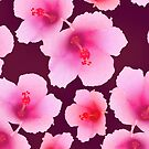 Pink hibiscus blossoms on violet by CatchyLittleArt