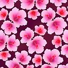 Pink rosemallow flowers on violet repeated by CatchyLittleArt
