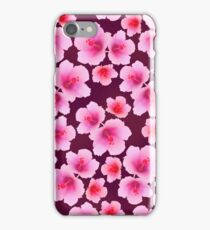 Pink rosemallow flowers on violet repeated iPhone Case/Skin