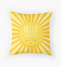 KIDS KAWAII - HAPPY SMILING SUN - HELLO SUNSHINE Throw Pillow