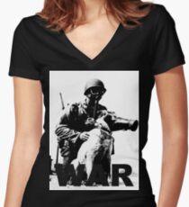 mans best friend... Women's Fitted V-Neck T-Shirt