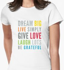 LIFE MANTRA positive cool typography bright colors Women's Fitted T-Shirt