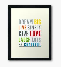 LIFE MANTRA positive cool typography bright colors Framed Print