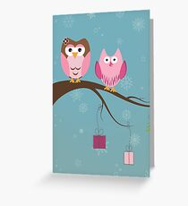 Two cute owls on the tree branch Greeting Card