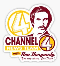Channel 4 News Team with Ron Burgundy! No Halftone! Sticker