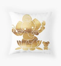 Golden Ganesha Throw Pillow