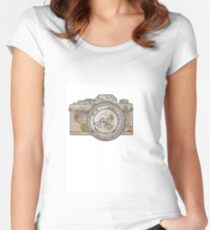 MAP OF THE WORLD ON CAMERA Women's Fitted Scoop T-Shirt