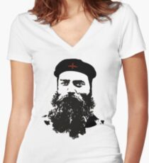Ned Kelly Meets Che - any colour shirt Women's Fitted V-Neck T-Shirt
