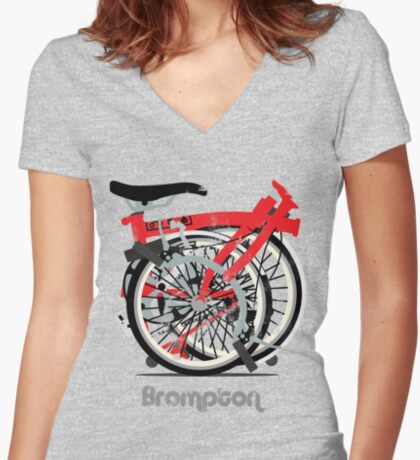 Brompton Bicycle Folded Women's Fitted V-Neck T-Shirt