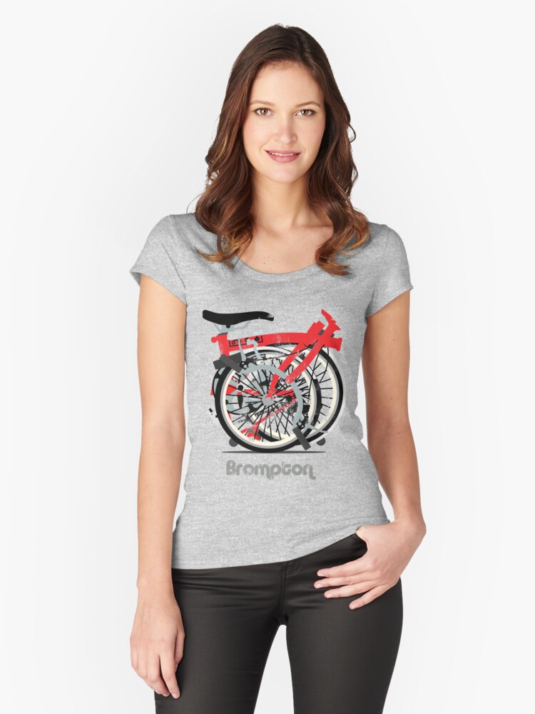 Brompton Bicycle Folded Women's Fitted Scoop T-Shirt Front