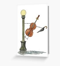 Bassy in the Rain Greeting Card
