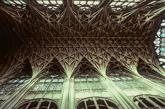 Ceiling Gloucester Cathedral 19810115 0032 by Fred Mitchell