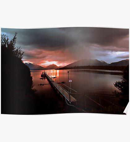 Days End. Lake Te Anau, South Island, New Zealand. Poster
