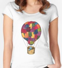 Hot Air Balloon Dog Women's Fitted Scoop T-Shirt