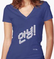 8-bit Annyeong! T-shirt (White) Women's Fitted V-Neck T-Shirt