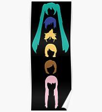 Vocaloid Heads (black) Poster